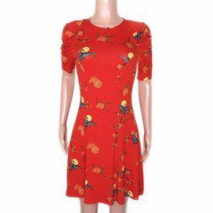 ASOS Orange/Red Oriental Asian Print A-Line Dress